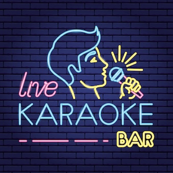 Singer with microphone in neon style like karaoke