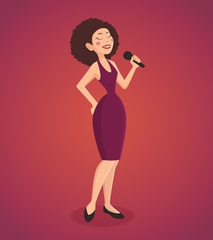 Singer woman illustration