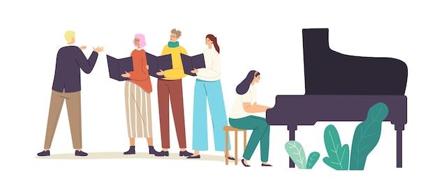 가수 합창단 행사. 음악 반주와 함께 합창으로 노래하는 캐릭터. 노래 책을 들고 있는 젊은 남녀가 지휘자 관리 프로세스를 통해 현장에서 공연합니다. 만화 사람들 벡터 일러스트 레이 션