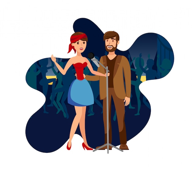 Singers duet at night club party flat illustration