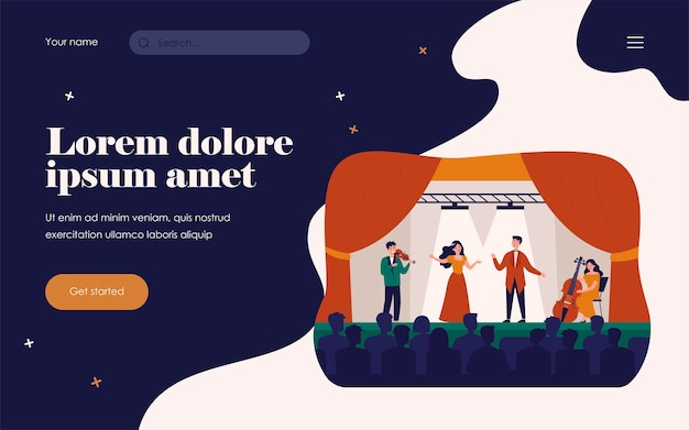 Singers playing in tragedy opera for audience isolated flat vector illustration. cartoon woman and man singing drama song on stage. theater and music concept
