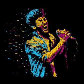 Singger man character abstract vector illustration.