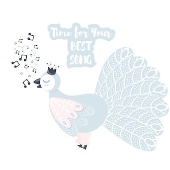 Singing bird vector light palette. cartoon vector