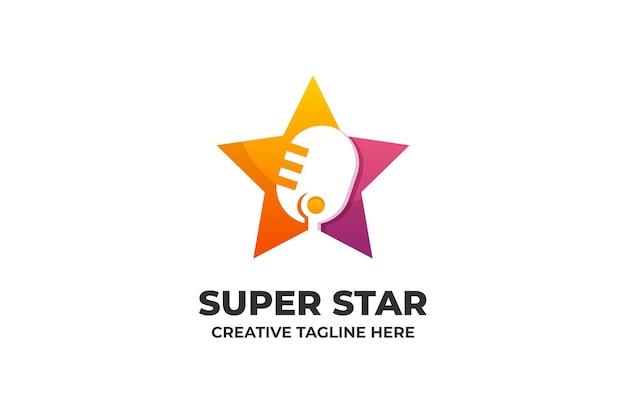 歌う競争音楽のグラデーションのロゴ