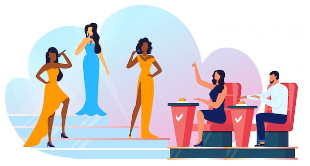 Singing contest, talent show vector illustration