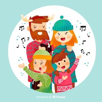 Singing family christmas illustration