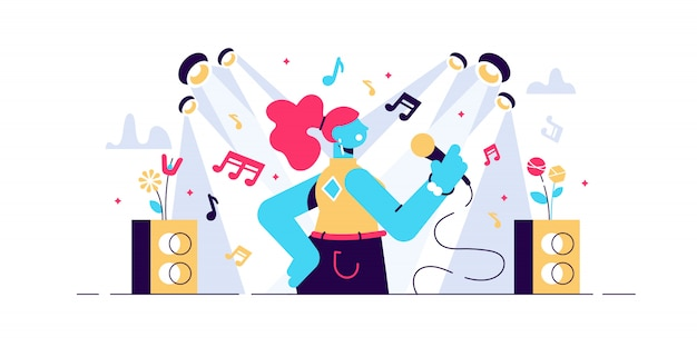 Singing illustration. flat tiny musical performance persons concept. abstract sound singer hobby with vocal media entertainment show. leisure stage karaoke lifestyle with microphone and notes.
