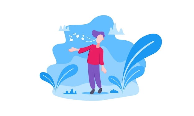 Singing illustration in modern flat design for landing page