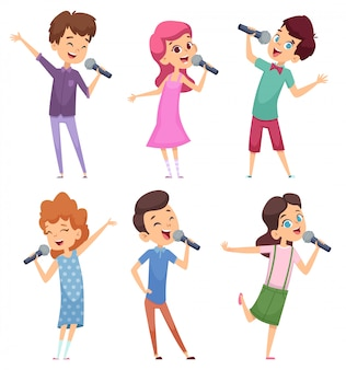 Singing kids. happy cute childrens music voice study boys and girls standing with microphone  characters