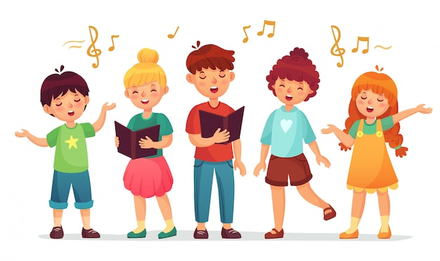 Singing kids. music school, kid vocal group and children choir sing cartoon  illustration
