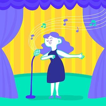 ステージで歌う