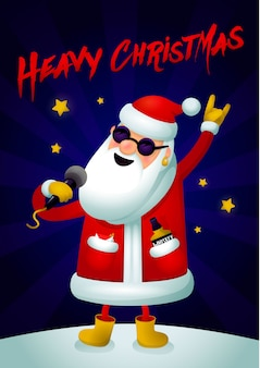 Singing santa claus - rock star with microphone