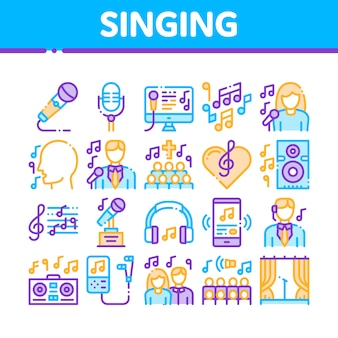 Singing song icons collection