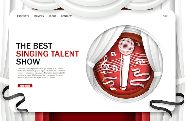 歌うタレントショーランディングページデザインウェブサイトバナーテンプレートベクターイラストペーパーアートスタイル...