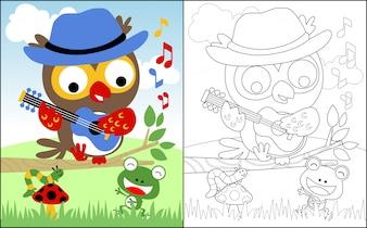 フクロウの漫画や友達と一緒に歌う