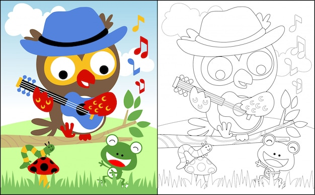 Singing together with owl cartoon and friends