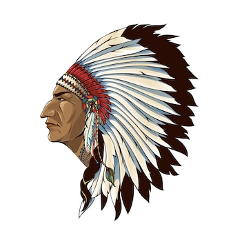 Single american indian in profile