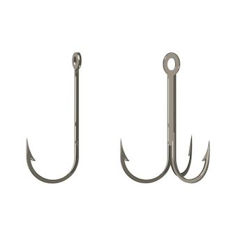 シングルとダブルフックアイコン漁師機器のサインは白で隔離。魚を捕まえるための釣り針装置。釣り用フックのイラスト