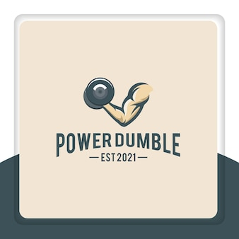 Single arm muscle with dumbbell logo design for gym sport fitness