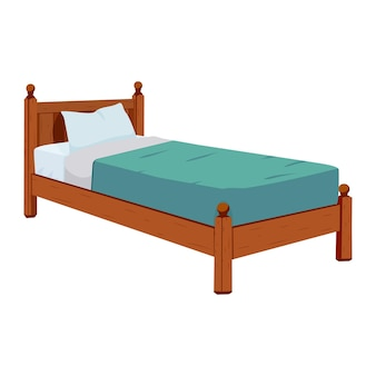 싱글 침대는 만화 스타일의 목재입니다. 흰색 배경에 벡터 일러스트 레이 션