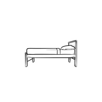 枕の手描きのアウトライン落書きアイコンとシングルベッド。ホテルの家具、家庭用、寝室、寝室のコンセプト