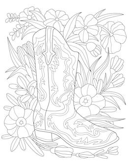 Одинарный ботинок на цветочном фоне, бесцветная линия, рисующая один ботинок рядом с цветами и