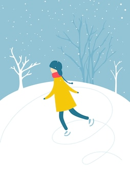 一人の男の子が屋外のアイススケートリンクでスケートをしている雪が降る木々のシルエット冬のアクティビティ