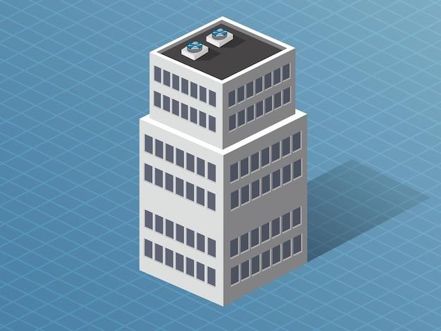 都市建設の近代建築の単一の建物のダウンタウンの等角3d次元の家。