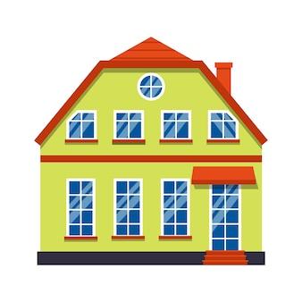단일 만화 집 다채로운 아키텍처 암스테르담. 근접 촬영 그래픽 아이콘 타운 하우스, 유럽 스타일. 평평한 도시 건물 고층 마을과 교외 집 별장. 흰색 그림에 절연
