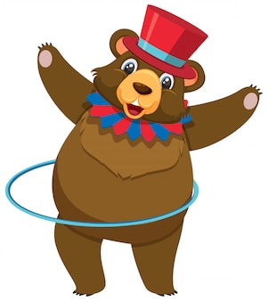 Single character of circus bear on white