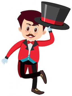 Single character of circus master on white background
