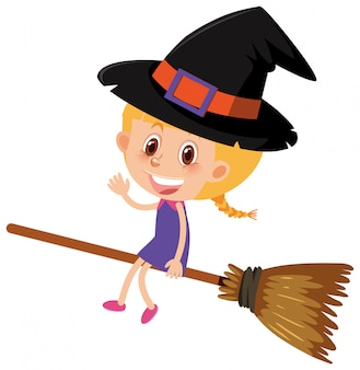 Single character of girl in witch costume on white background