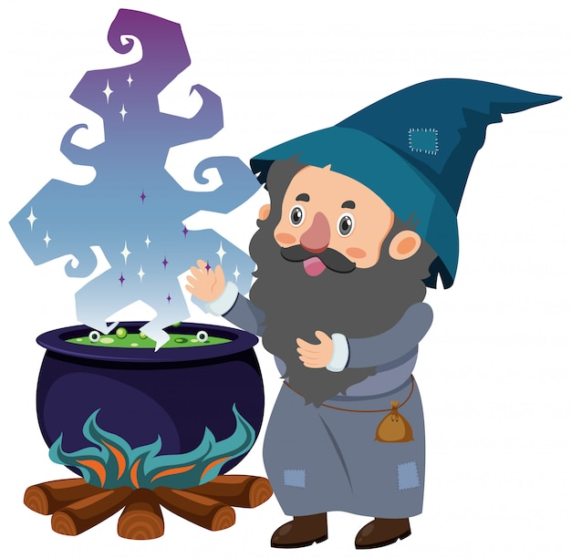 Single character of wizard on white