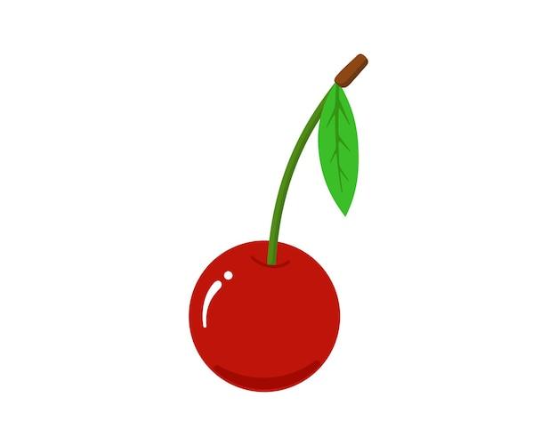 シングルチェリーフルーツフラットアイコン。緑の葉の分離されたベクトル図と新鮮な甘い天然レッドベリー