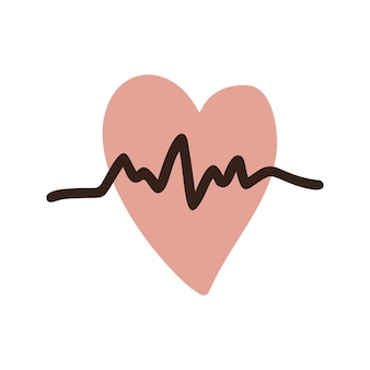 Single clipart heart graph. cute vector hand drawn illustration. sports lifestyle. health checkup, cardiogram. isolated on white background.