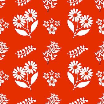 Single color autumn bouquet flowers vector seamless pattern background