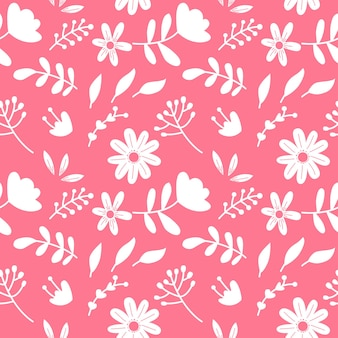 Single color floral pattern seamless background vector