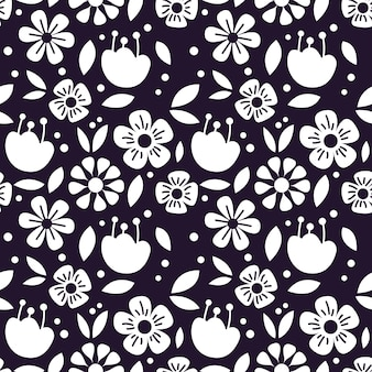Single color seamless pattern of beautiful flower vector background