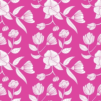 Single color vintage beautifull flower seamless pattern background vector