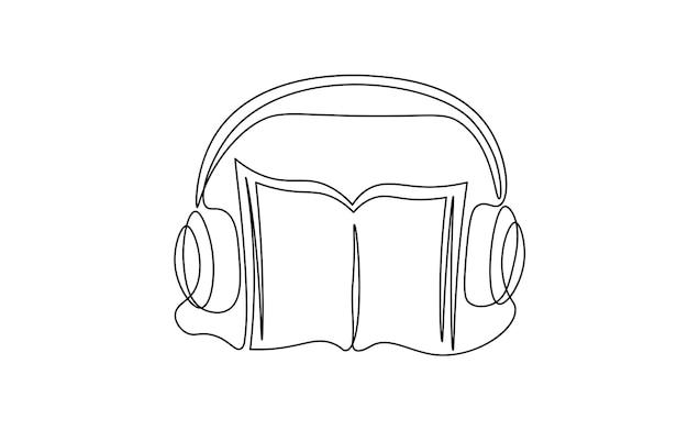 Single continuous line art audiobook education. learning listen apps master headphones graduate online. design one stroke sketch outline drawing vector illustration art.