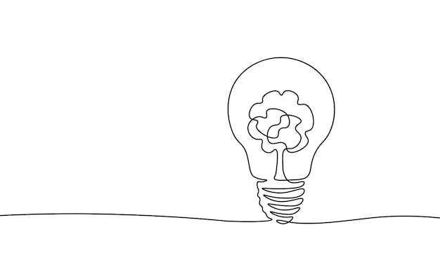Single continuous line art ecology solution idea. eco organic creative bulb symbol. design one stroke sketch outline drawing vector illustration art.