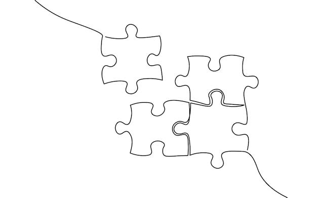 Single continuous line art puzzle game. team work problem solution concept. design one stroke sketch outline drawing vector illustration art.