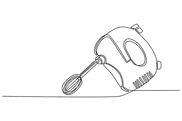 Single continuous line drawing of electric hand mixer for making cookie batter household utensil