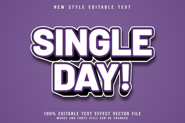 Single day editable text effect emboss cartoon style