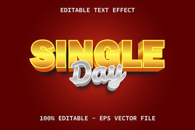 Single day with golden luxury style editable text effect
