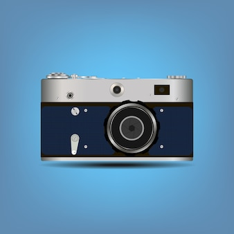 Single detailed camera icon isolated on color background