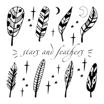 Single doodle vector elements feather hand drawn symbols writing and stars