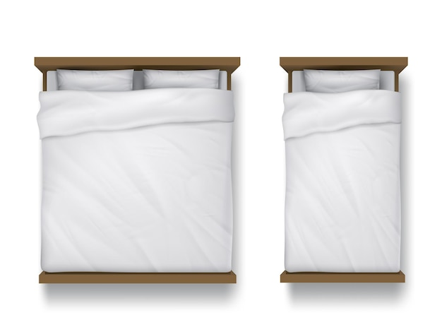 Letti singoli e matrimoniali con lenzuolo bianco, cuscini e piumone