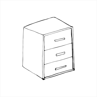 Single element of bedside in doodle set. home office. hand drawn vector illustration for cards, posters, stickers and professional design.