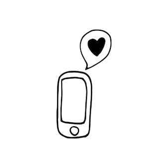 Single element of message on the phone in doodle business set. hand drawn vector illustration for cards, posters, stickers and professional design.